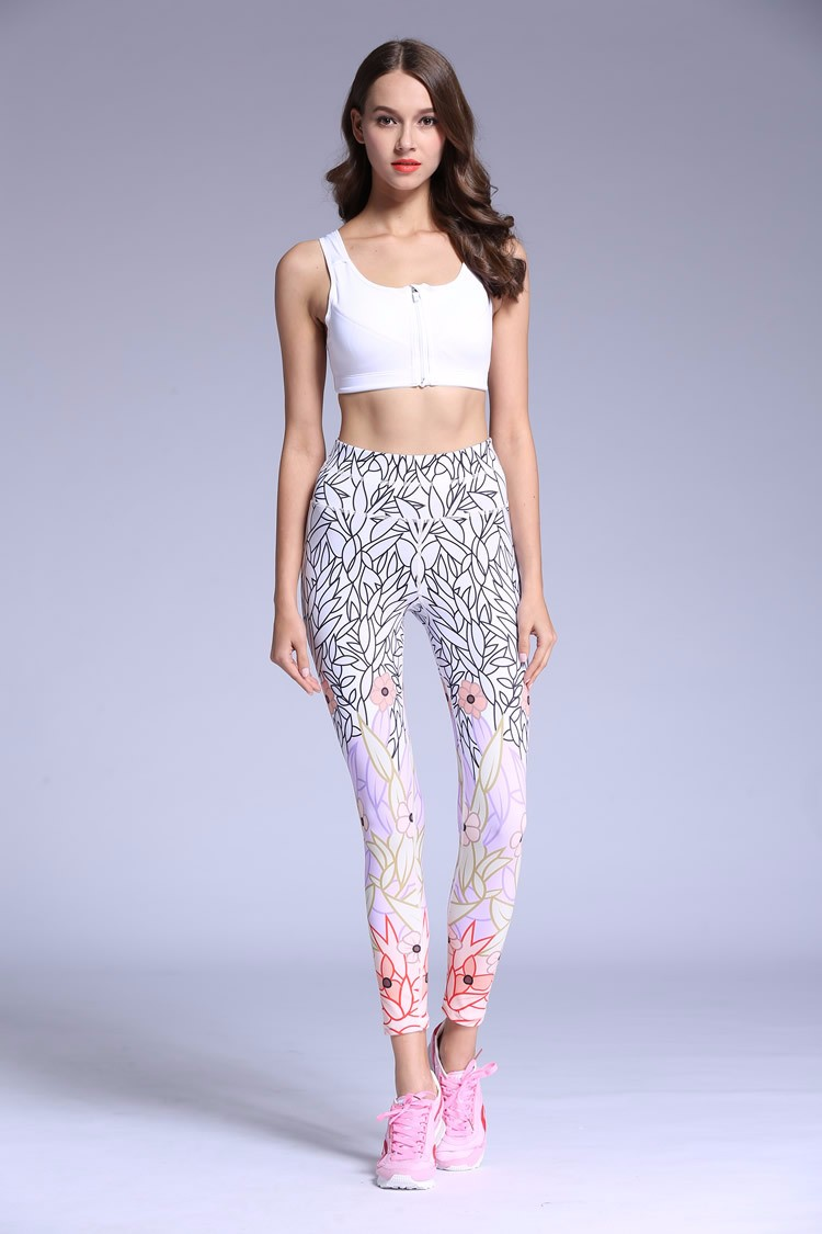 2016 Latest Design Best Plant Print Women Yoga Pants Sexy Yoga Leggings
