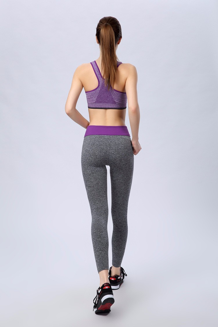 Women Colorful High Waist Yoga Pants Gray Yoga Leggings Fashion Fitness Wear