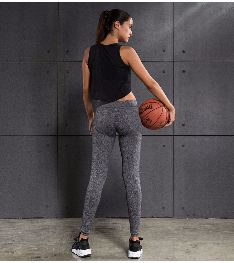 women yoga leggings black ang gray qucik dry wicking sports running pants