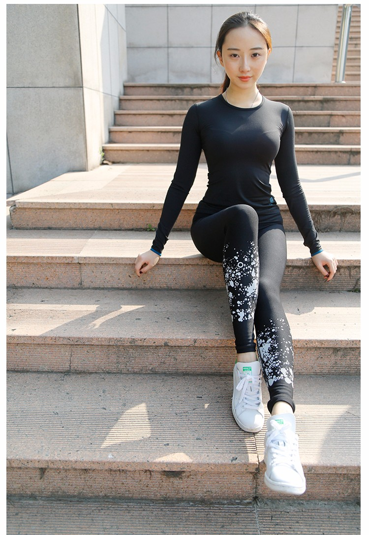 Reflective white spot printed summer breathable yoga pants for women Wholesale