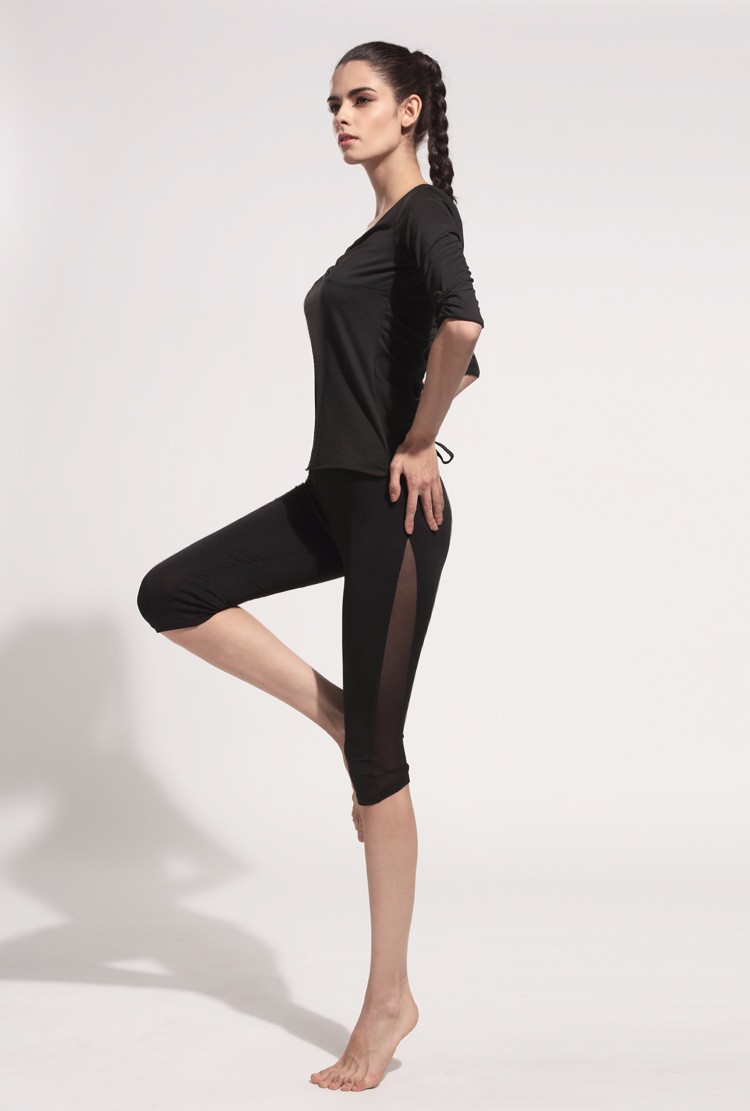 Women black mesh yoga leggings sexy shorts gym fitness tight yoga pants