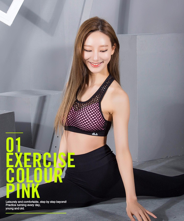 Women mesh yoga bra gym running wears breathable fashion sexy tops