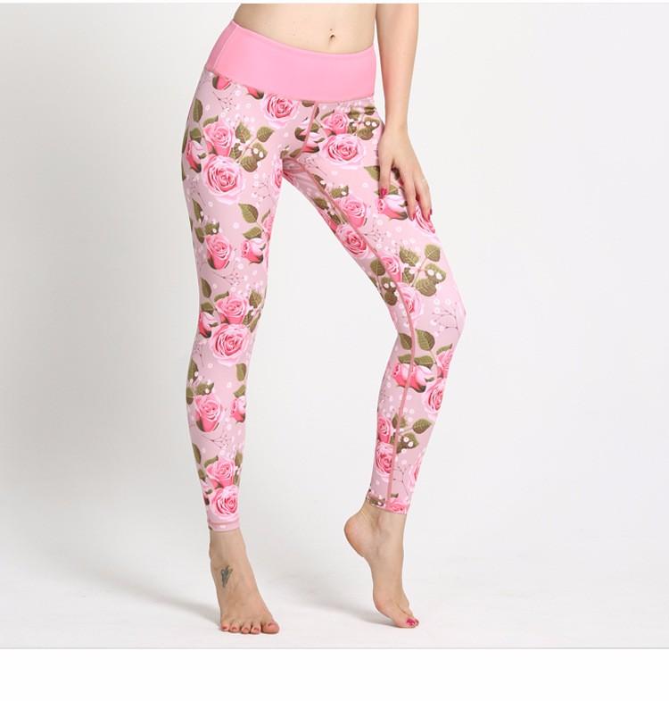 Women sexy pink flower printed fitness custom yoga pants leggings